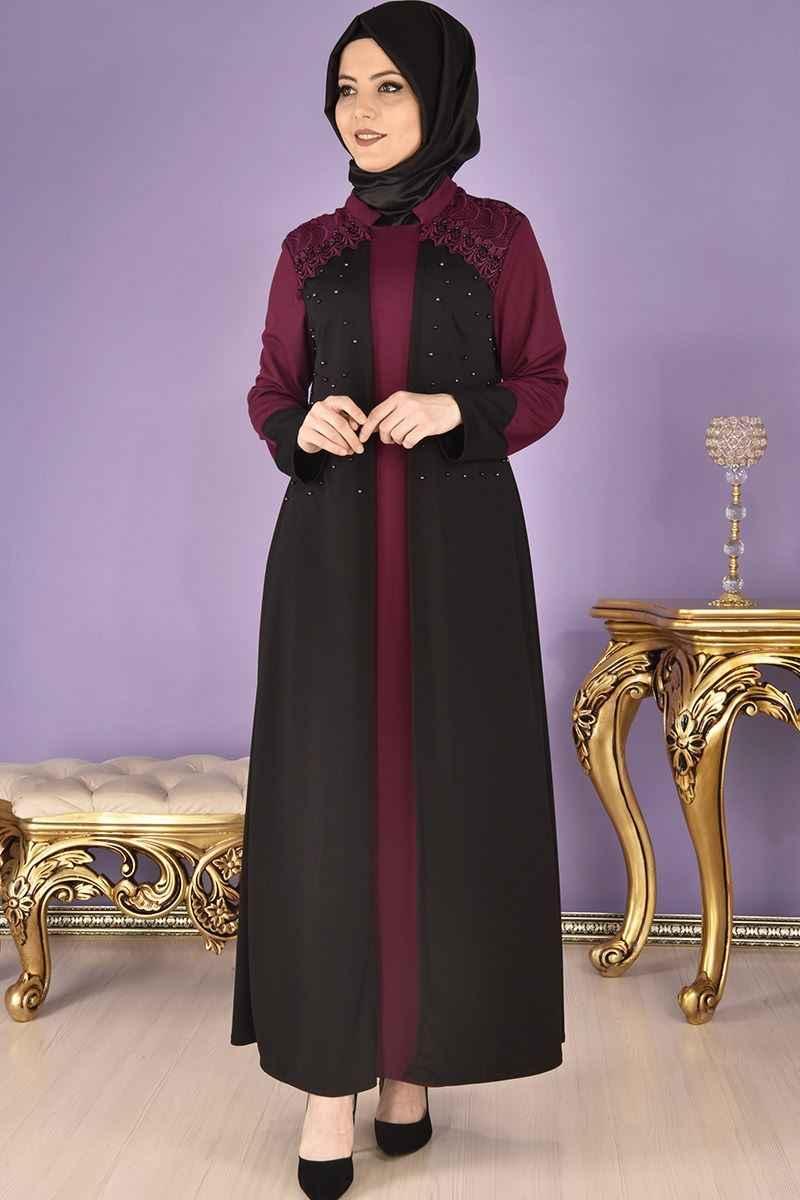 Modamerve Omuz Dantelli Tesettür Elbise Modelleri