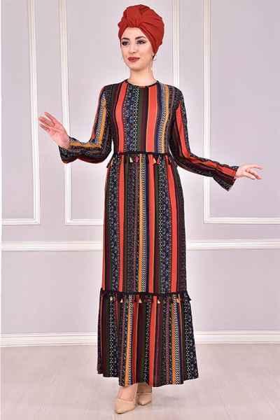 Modamerve Püskül Detaylı Çizgili Tesettür Elbise Modelleri