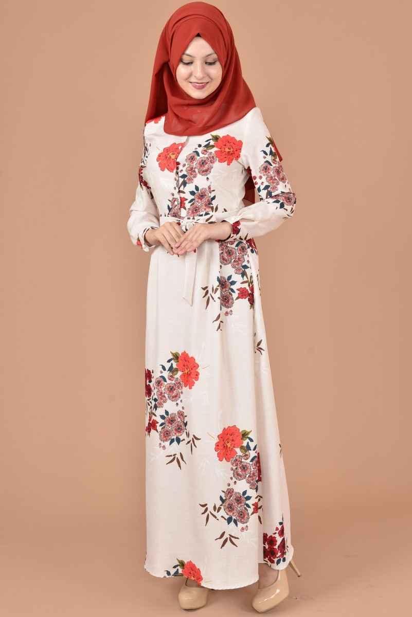 Modamerve Tesettür Çiçekli Elbise Modelleri