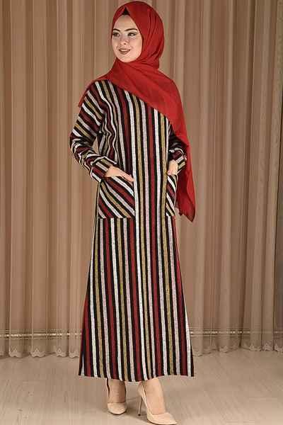 Modamerve Tesettür Çizgili Elbise Modelleri