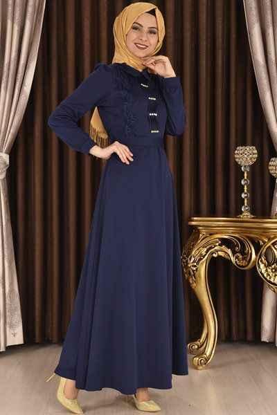 Modamerve Tesettür Ön Taşlı Elbise Modelleri