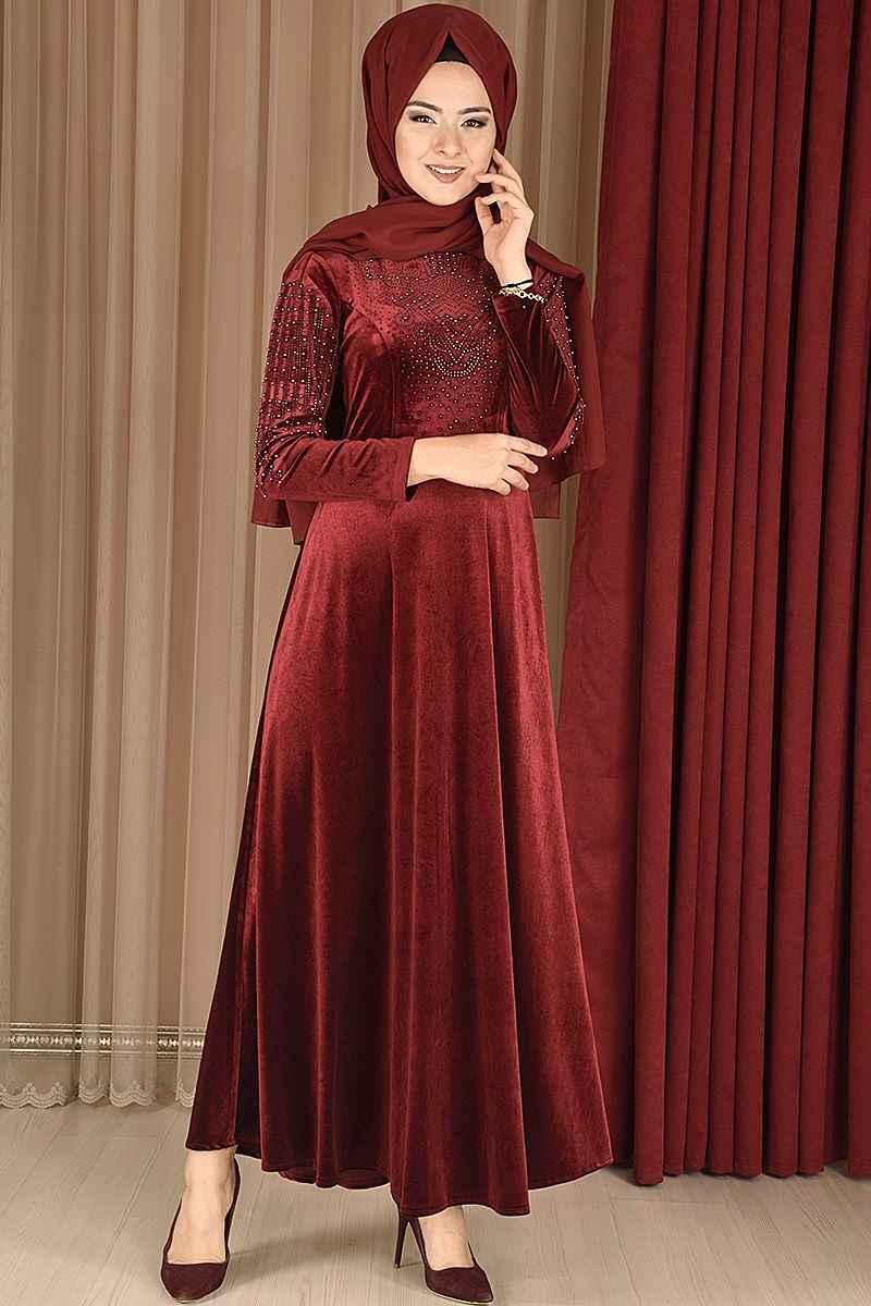 Modamerve Tesettür Boncuk İşlemeli Kadife Elbise Modelleri