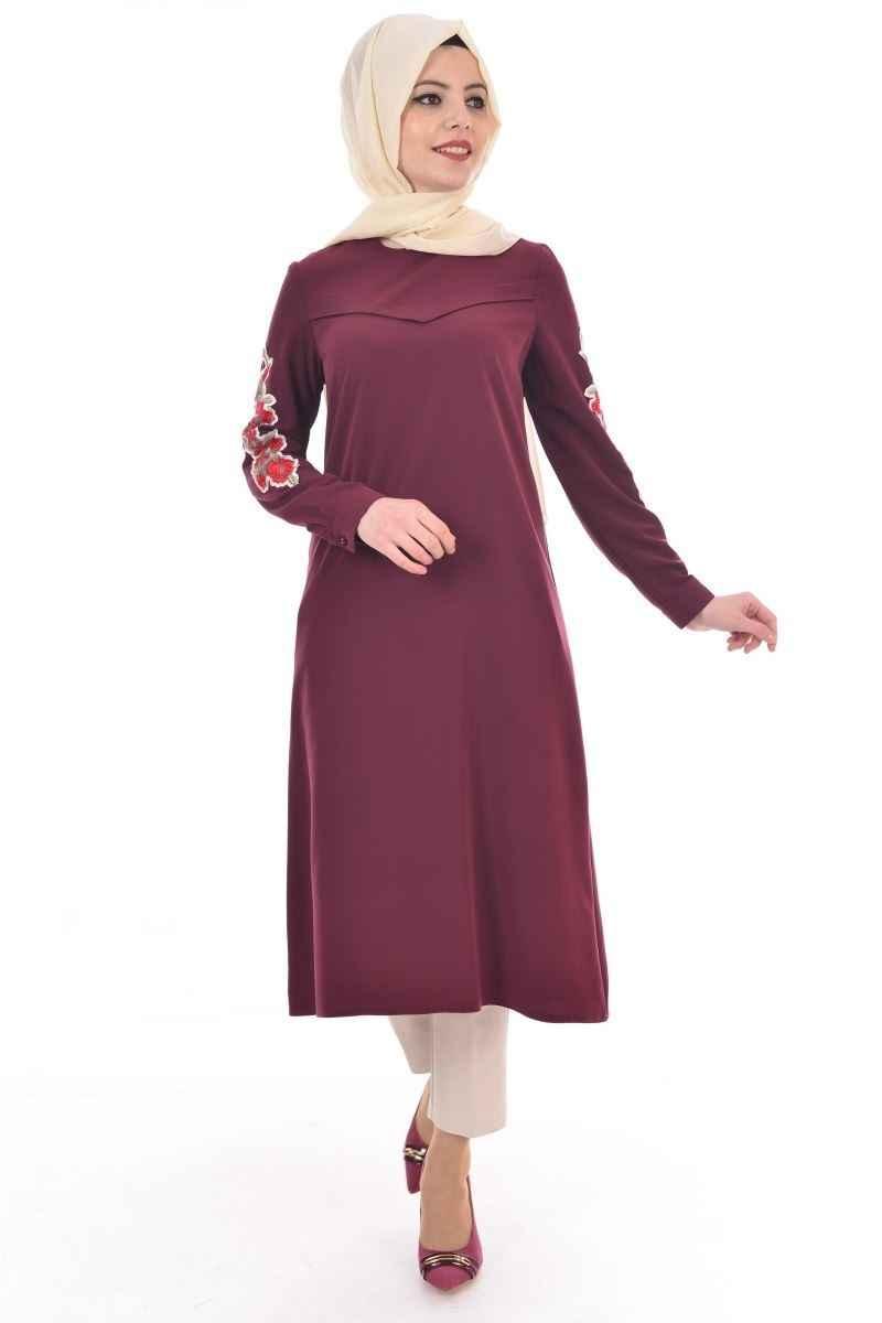 Modamerve Tesettür Bordo Renk Tunik Modası