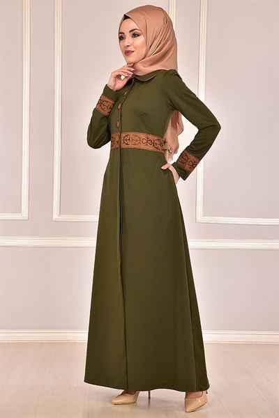 Modamerve Tesettür Haki Renk Elbise Modelleri