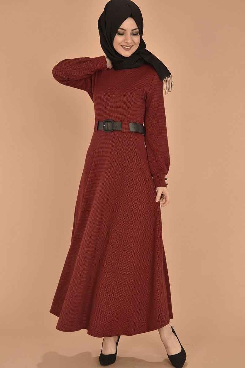 Modamerve Tesettür Kırmızı Kazayağı Desenli Elbise Modelleri