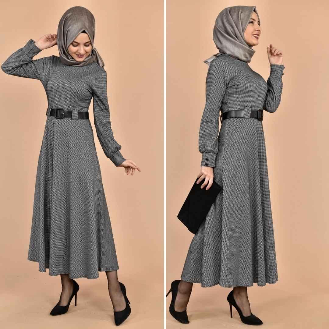 Modamerve Tesettür Kazayağı Desenli Elbise Modelleri