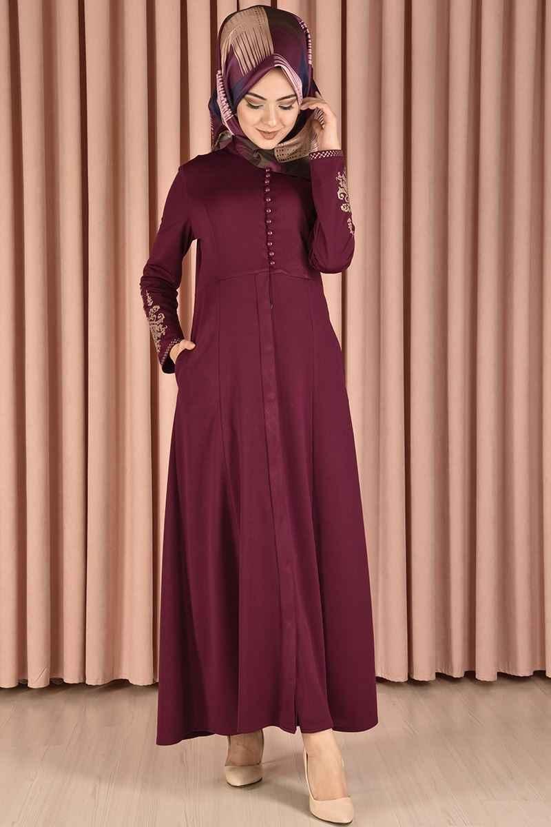 Modamerve Tesettür Nakışlı Elbise Modelleri
