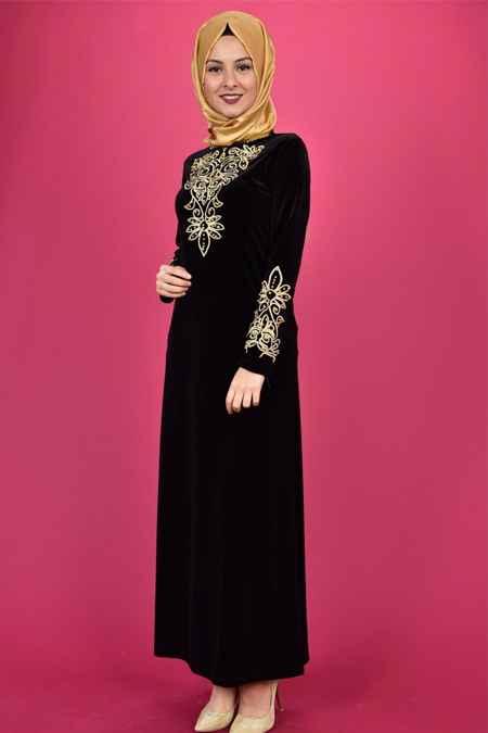 Modamerve Tesettür Nakışlı Siyah Elbise Modelleri
