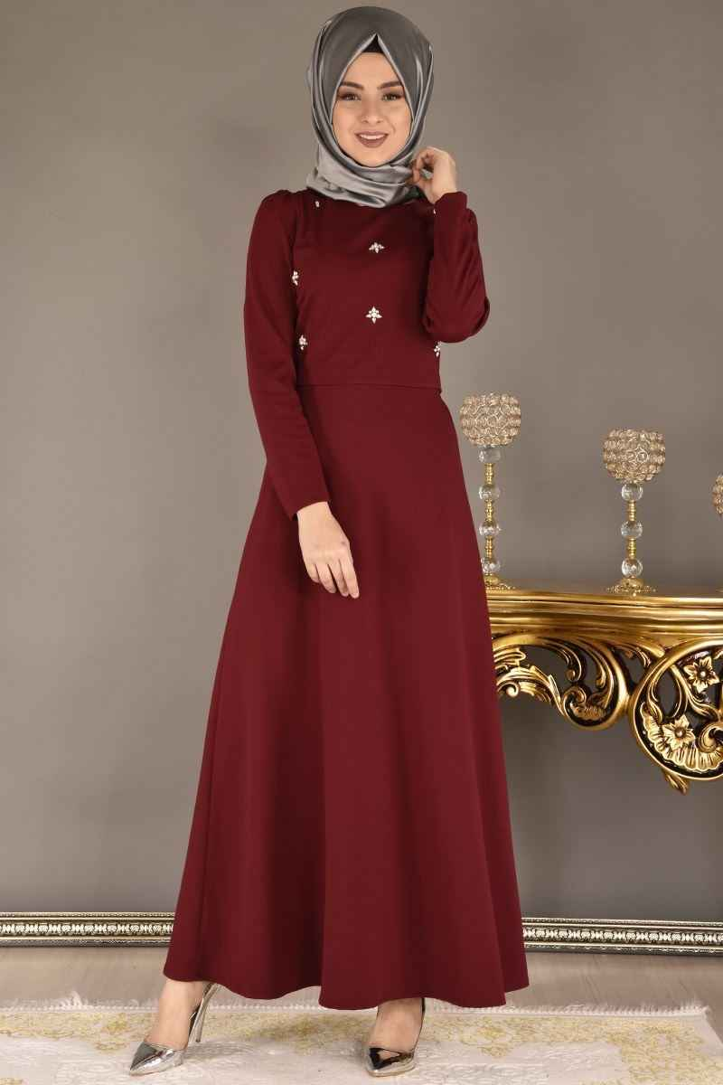 Modamerve Tesettür Taşlı Elbise Modelleri