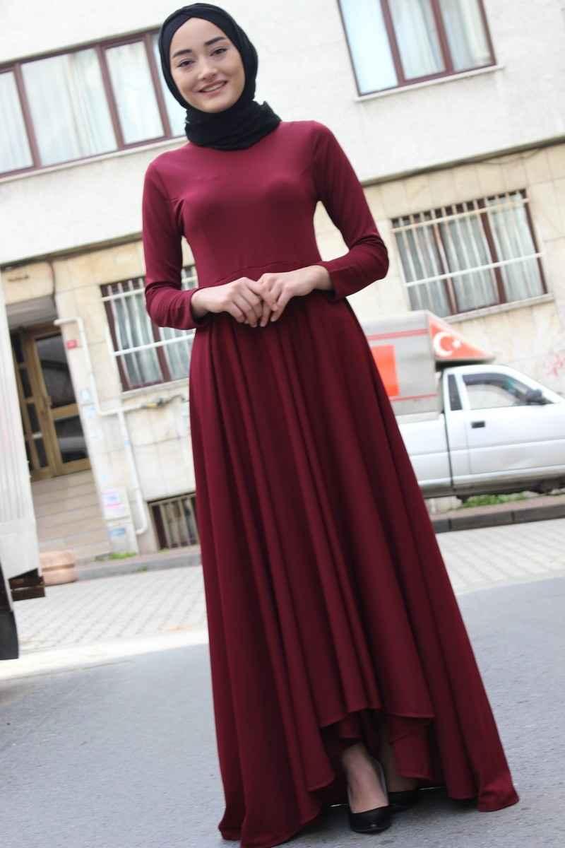 Modaonur Tesettür Bordo Renk Elbise Modası