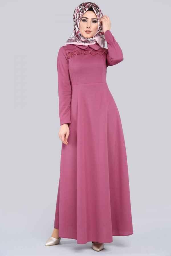 6c0dcaa02cd8f Modaselvim Bebe Yaka Tesettür Elbise Modelleri - Moda Tesettür Giyim