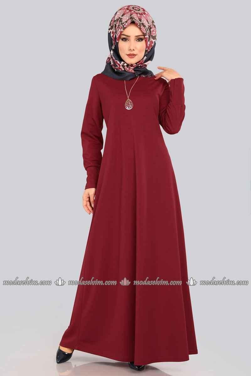 Modaselvim Tesettür Bordo Renk Elbise Modelleri