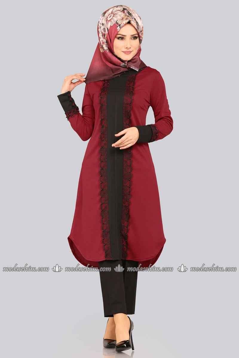 Modaselvim Tesettür Bordo Renk Tunik Modası
