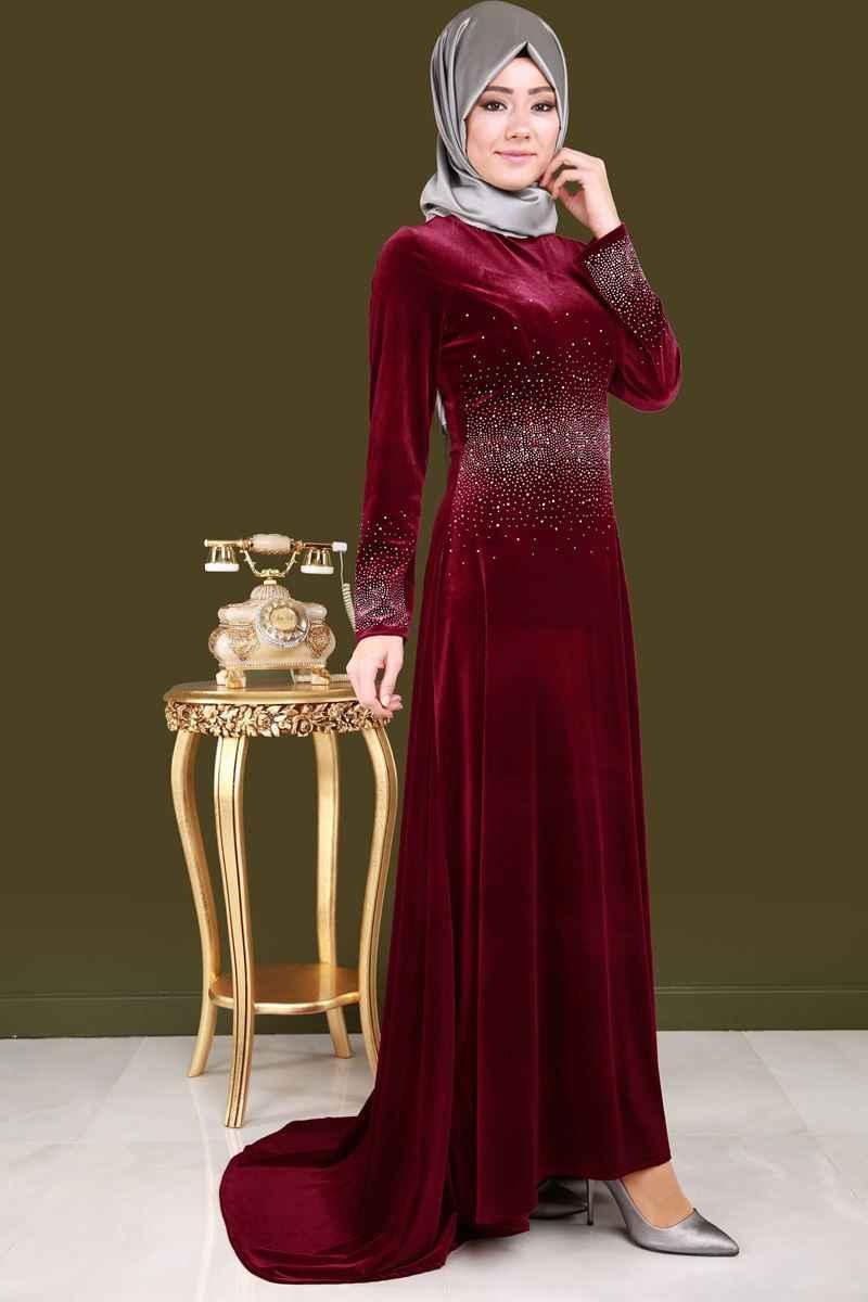Modaselvim Tesettür Taşlı Kadife Elbise Modelleri