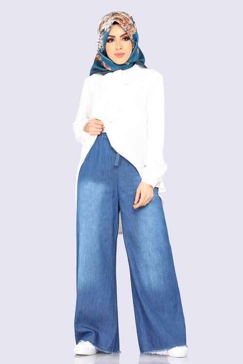 Modaselvim Yüksek Bel Tesettür Kot Pantolon Modelleri