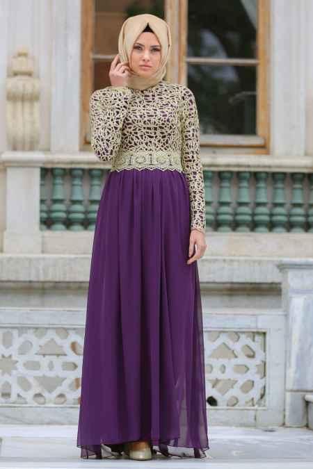 Nayla Collection Gold Dantelli Tesettür Şık Abiye Elbise Modelleri