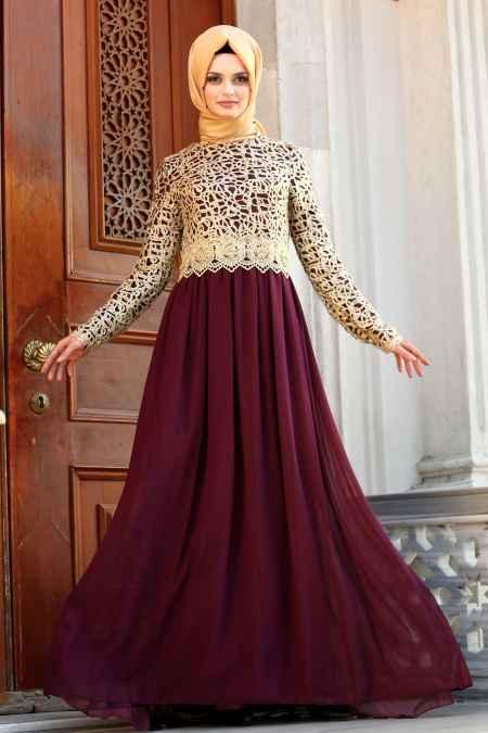 Nayla Collection Gold Dantelli Tesettür Abiye Elbise Modelleri