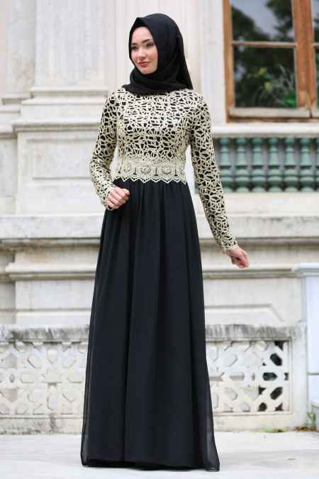 Nayla Collection Gold Dantelli Tesettür Siyah Abiye Elbise Modelleri