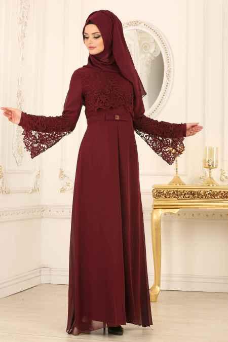 Nayla Collection Tesettür Bordo Renk Abiye Elbise Modelleri
