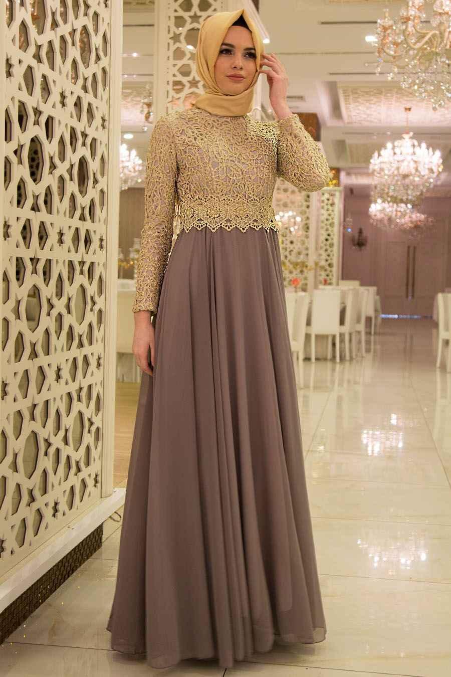 Nayla Collection Tesettür Gold Dantelli Abiye Elbise Modelleri