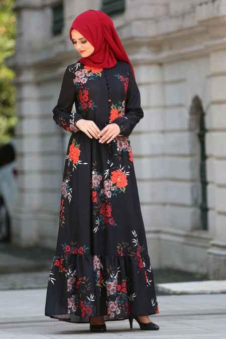 Neva Style Çiçekli Tesettür Elbise Modelleri