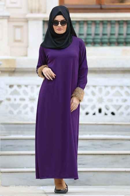 Neva Style Kürklü Tesettür Elbise Modelleri
