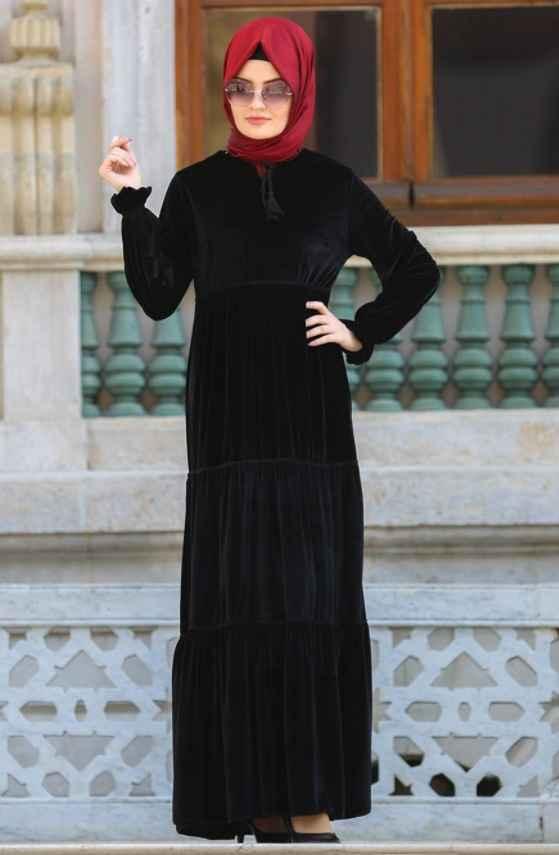 Neva Style Kadife Tesettür Elbise Modelleri