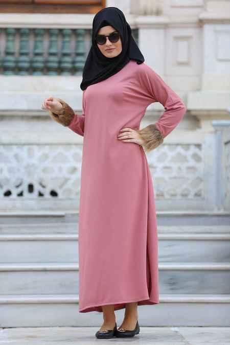 Neva Style Kolları Kürklü Tesettür Elbise Modelleri