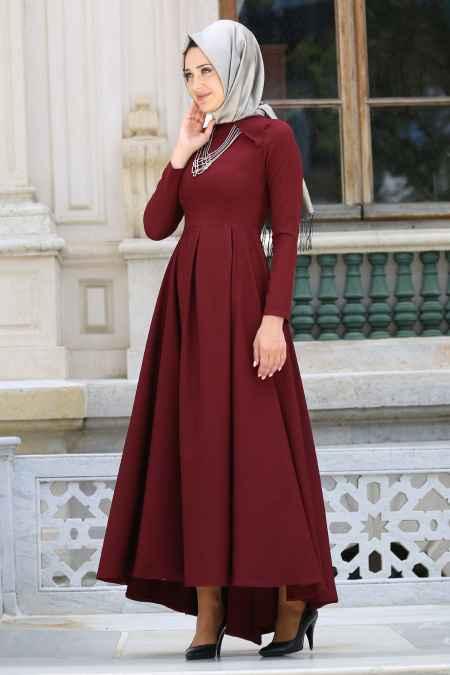 Neva Style Tesettür Bordo Renk Elbise Modelleri