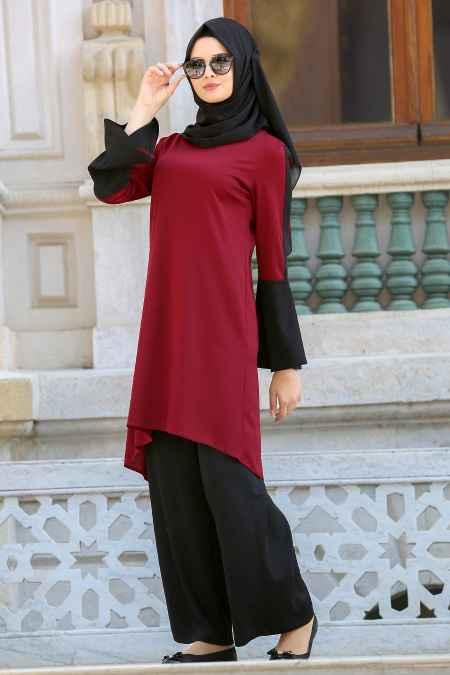 Neva Style Tesettür Bordo Renk Tunik Modelleri