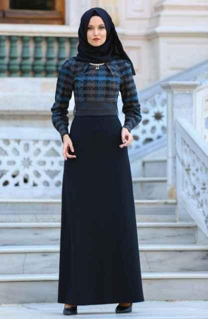 Neva Style Tesettür Desenli Elbise Modelleri