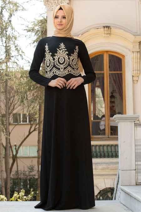 Neva Style Tesettür Gold Dantelli Abiye Elbise Modelleri