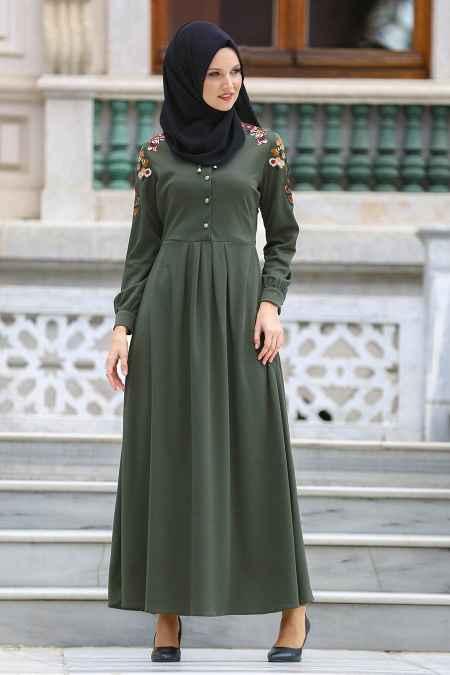 Neva Style Tesettür Haki Renk Elbise Modası