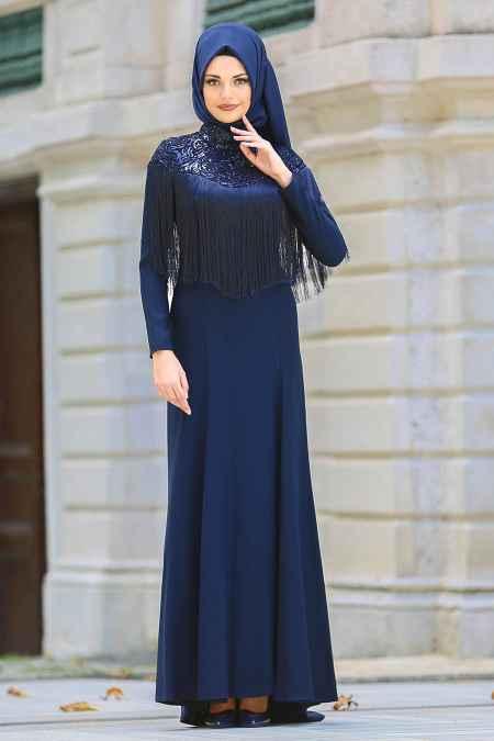 Neva Style Tesettür Püsküllü Abiye Elbise Modelleri