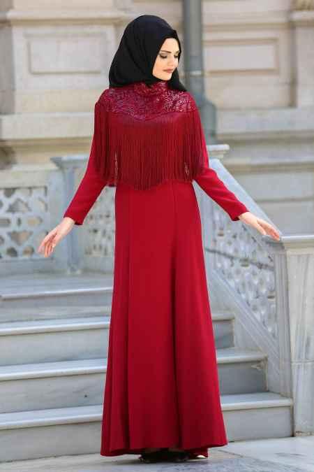 Neva Style Tesettür Püsküllü Bordo Abiye Elbise Modelleri