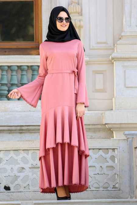 Neva Style Tesettür Volan Kol Elbise Modelleri