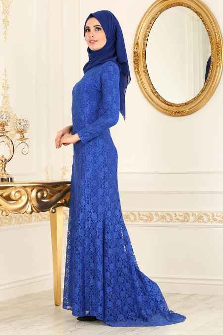 New Kenza Tesettür Dantel Detaylı Abiye Elbise Modelleri
