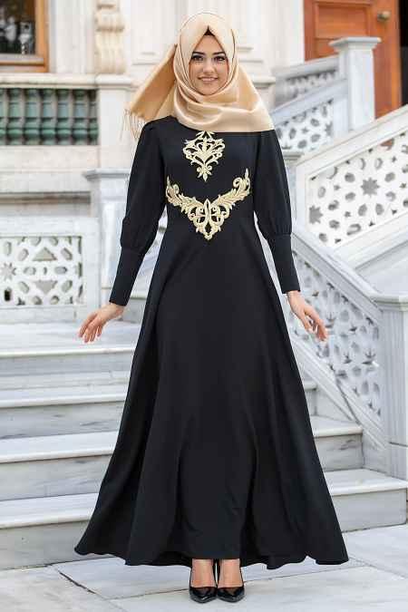 New Kenza Tesettür Siyah Abiye Elbise Modelleri