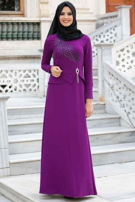 New Kenza Tesettür Taş Detaylı Abiye Elbise Modelleri