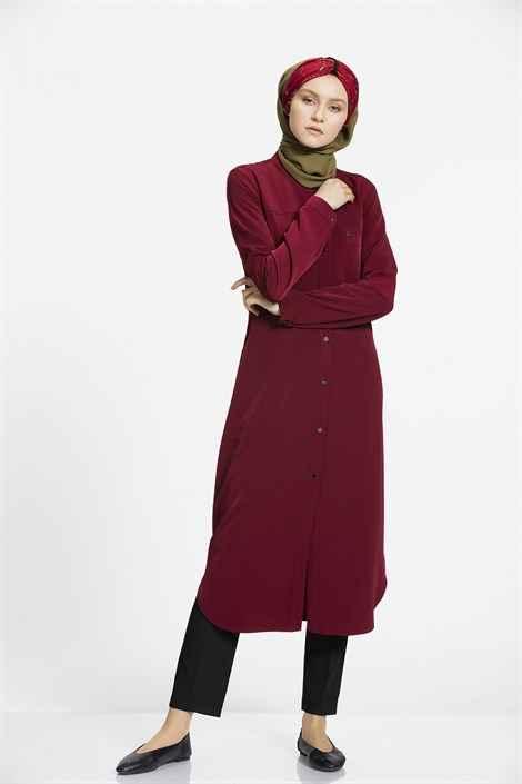 Nihan Tesettür Bordo Renk Tunik Modası