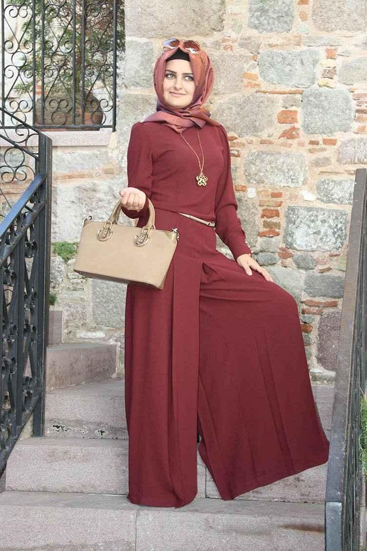 Pınar Şems Kolyeli Tesettür Tulum Modelleri