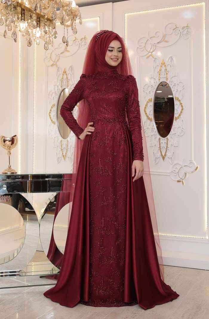 Pınar Şems Tesettür Bordo Renk Modası