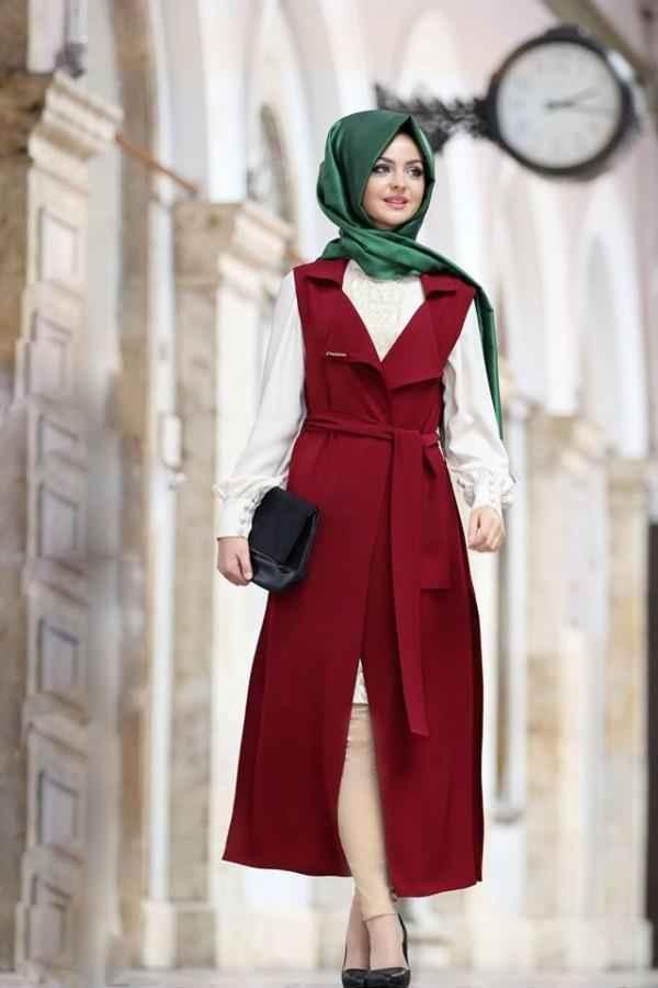 Pınar Şems Tesettür Bordo Renk Yelek Modası