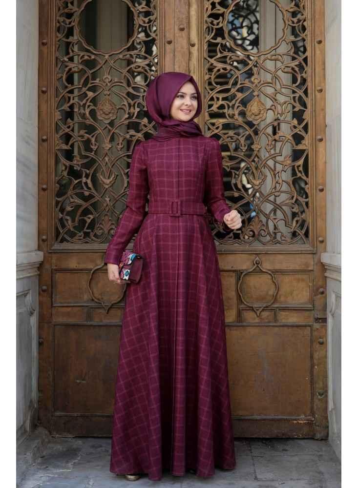 d152c0ac62594 Tesettür Ekose Elbise Modelleri | Moda Tesettür Giyim
