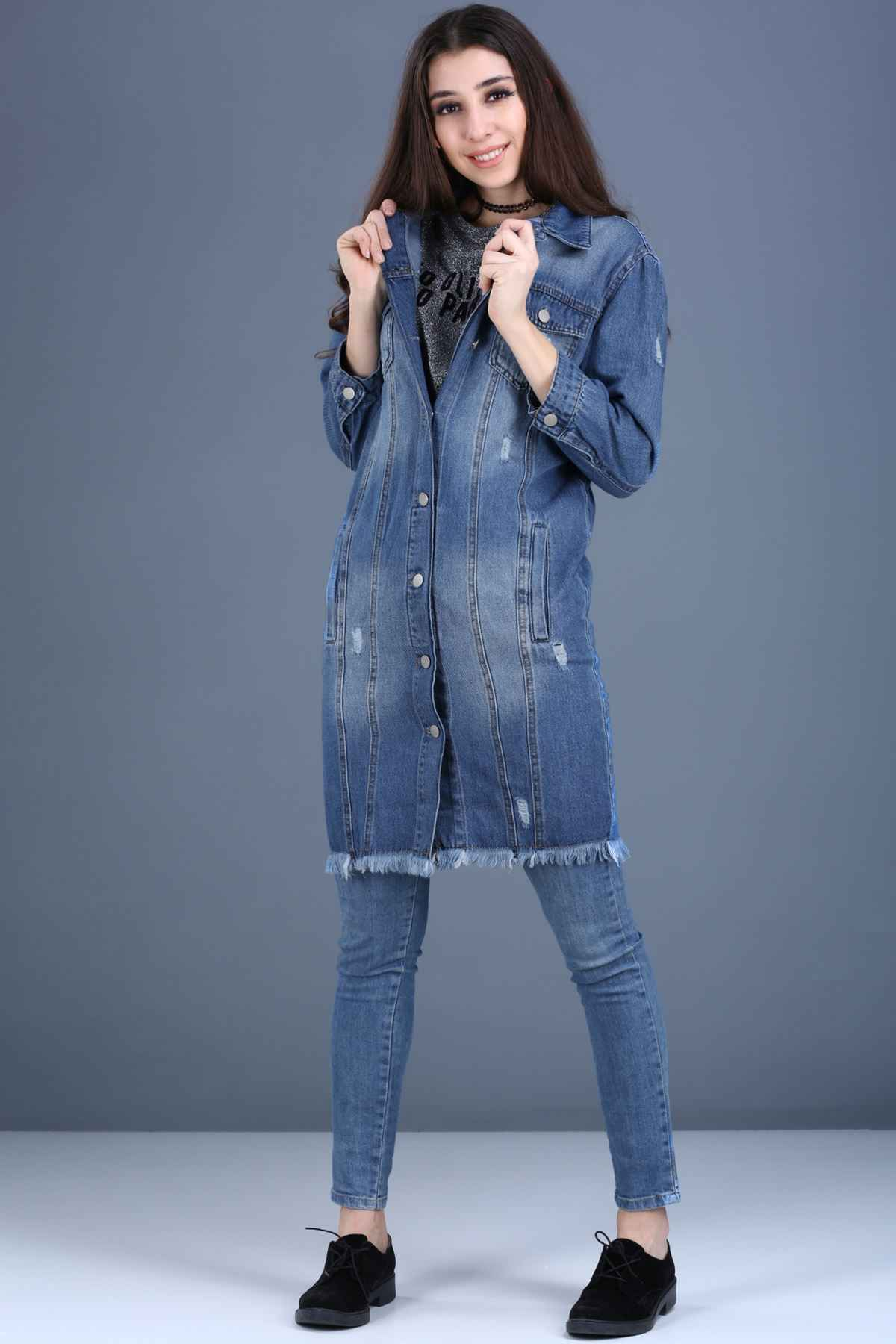 Patırtı Yırtık Model Uzun Kot Ceket Modelleri