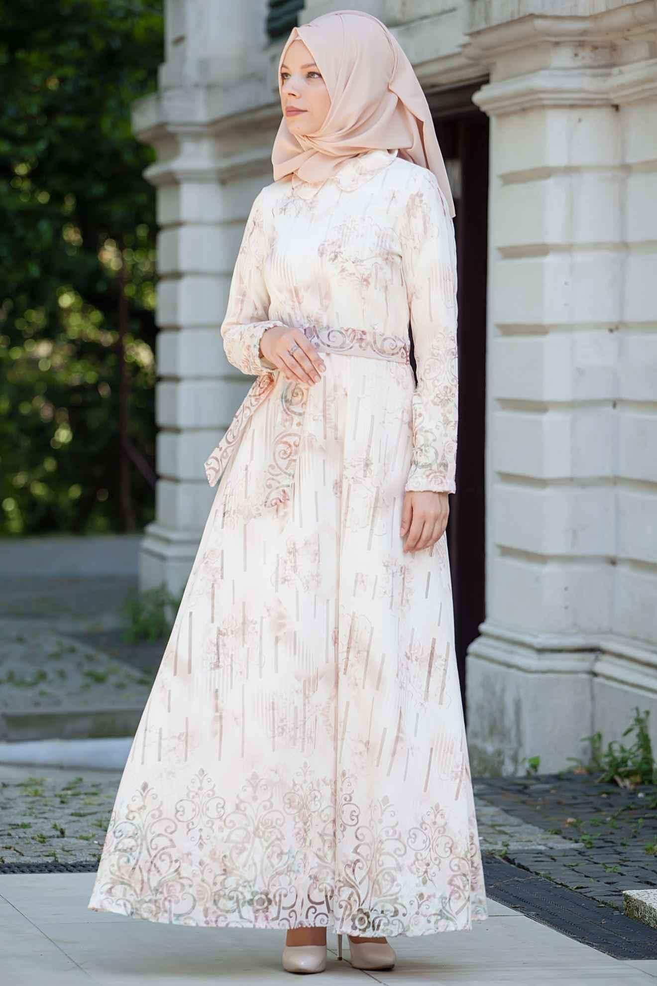 Sedanur Bebe Yaka Tesettür Elbise Modelleri