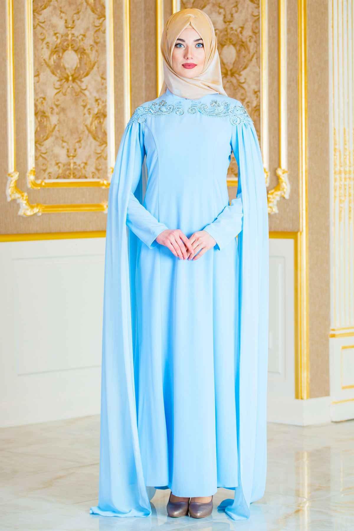 Sedanur Dökümlü İşlemeli Tesettür Abiye Elbise Modelleri