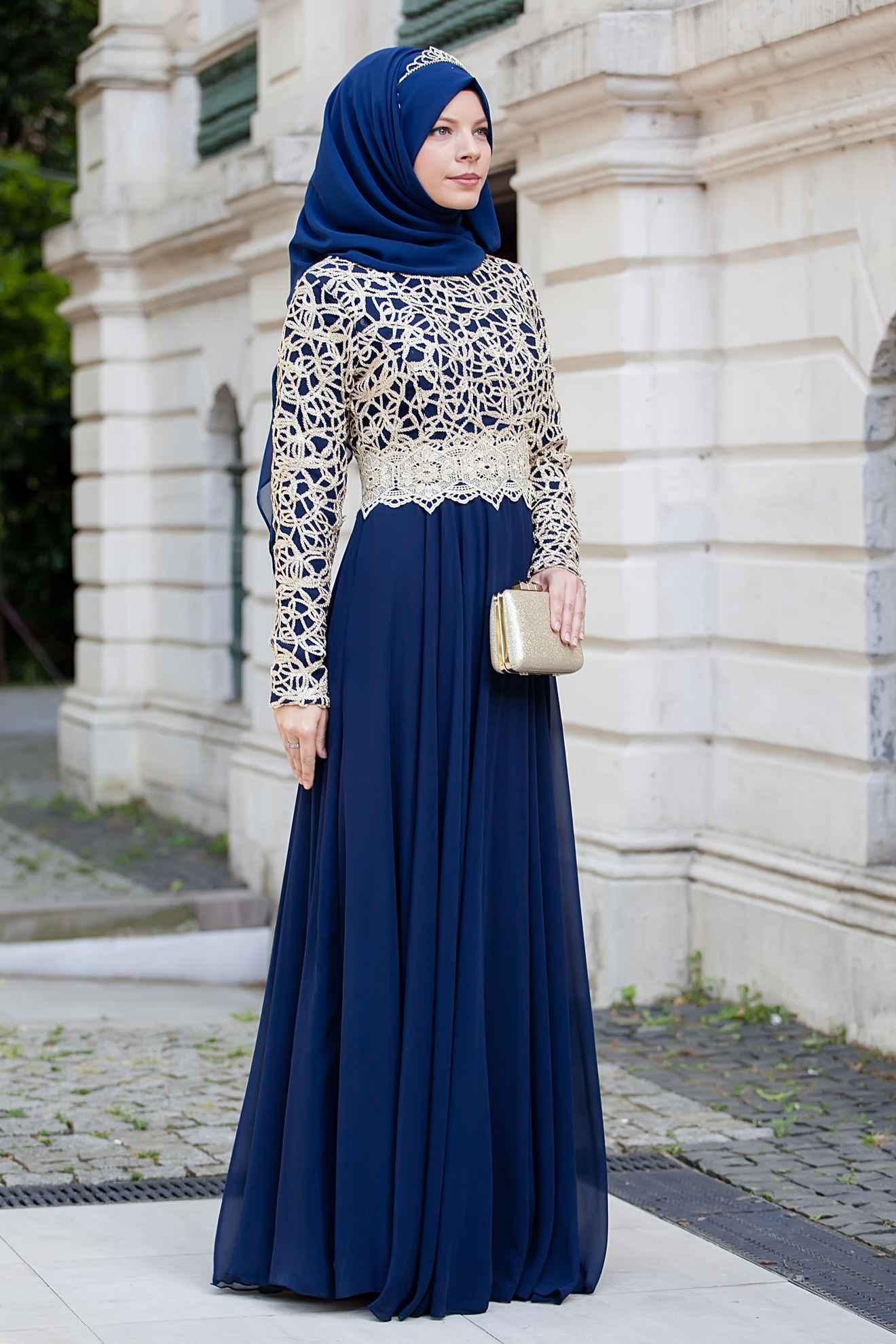 Sedanur Gold Dantelli Tesettür Lacivert Abiye Elbise Modelleri