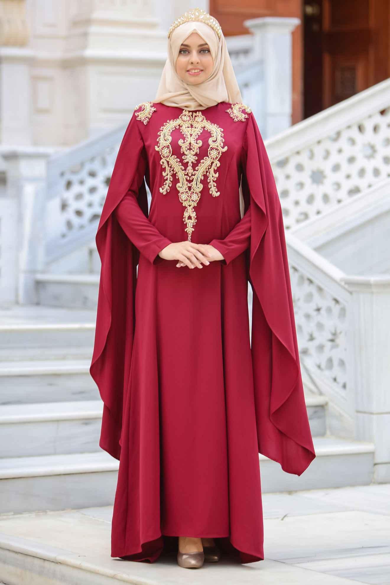Sedanur Tesettür Bordo Renk Abiye Modası