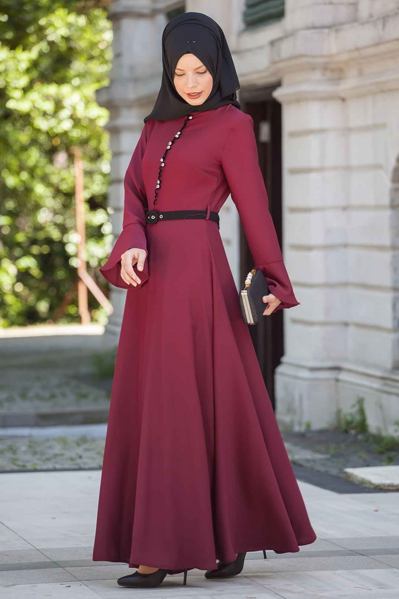 Sedanur Tesettür Bordo Renk Elbise Modası